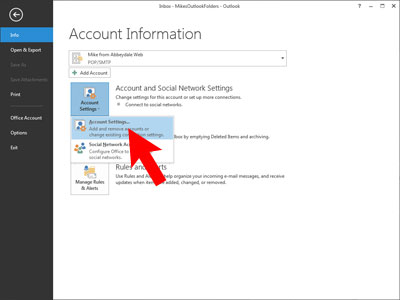 Set up Outlook 2013: edit account