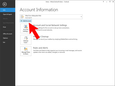 Set up Outlook 2013: add account