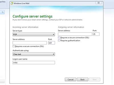 Set up Windows Live Mail: incoming mail server